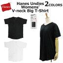 Hanes ヘインズ Undies アンディーズ Womens' V Neck Big T-shirts Vネック ビッグ Tシャツカットソー 半袖 ウイメンズ HW1M201ルームウェア 部屋着 プレゼント ギフト 通勤 通学
