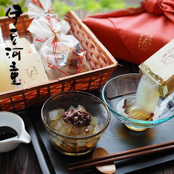 あんみつところてん竹籠風呂敷包みセット餡蜜セット送料無料ギフト和菓子お取り寄せあんみつギフトasu