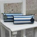 藍染め キャンバス 帆布 布 革 ケース ペンケース 筒型 文房具 ブルー ボーダー ファスナー 日本製 綿 コットン 武州正藍染 小島屋〈KOJIMAYA〉