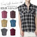 ロング丈 チェック柄 ノースリーブシャツ チェックシャツ ダメージ 切りっぱなし カットシャツ メンズファッション アウター ジャケット ヴィンテージ デザイン(10000061)