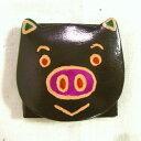ショッピングフェアトレード 山羊革アニマルコインパース ちびぶた 黒 [フェアトレード] ヤギ革 コインケース