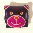 山羊革 アニマルコインパース ちびくま 紫 [フェアトレード] ヤギ革 コインケース