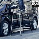 楽天家具のインテリアオフィスワンハセガワ アルミ足場台 4段 脚立 ステップ 踏台 足場 ステップ台 椅子 チェア ベンチ 作業台 テーブル 取っ手 持ち手有り 折りたたみ 軽量 長谷川工業 アルミ ブラック DRXB-1098 耐荷重100kg 高さ98cm 作業現場 オシャレ hasegawa 園芸 玄関 掃除 洗車 [新商品]
