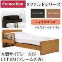 フランスベッド 電動ベッド 棚付き照明付き 木製サイドレール付 システムファルド2モーター フレームのみ シングルベット C1T-2M 電動リクライニングベッド 電動ベット