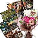 写真入り メッセージ カード付き ピンクバラ花束&体験ギフト...
