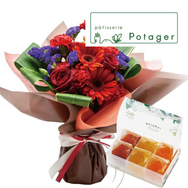 花とスイーツギフトセットかわいいレッドバラミックス花束と国産野菜とフルーツの無添加ゼリー詰合せ6個写