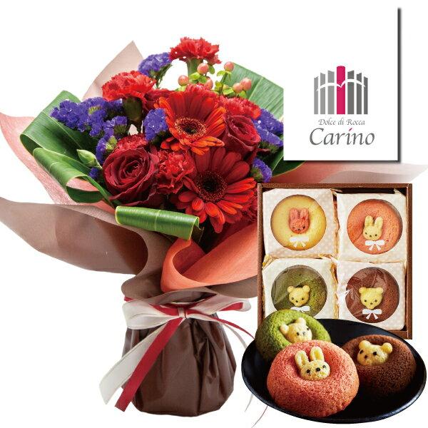 花とスイーツギフトセットかわいいレッドバラミックス花束とうさぎとこぐまのかわいいドーナツ4個写真入り