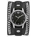 ハーレーダビッドソン Harley-Davidson Harley Davidson 腕時計 時計 Harley-Davidson Women's Crystal Leather Cuff w/ Steel Chain Watch, Black 76L184