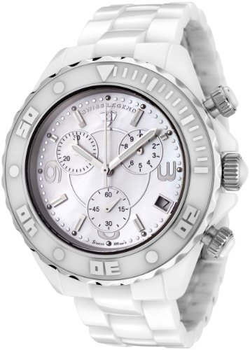 スイスレジェンド メンズ 腕時計 Swiss Legend Men's SL-30050-WWSR Karamica Collection Chronograph White Ceramic Watch 10000円以上で送料無料