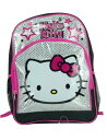 Hello Kitty ハローキティ 16インチ スクールバックパック Large School Backpack Bag Black and Silver