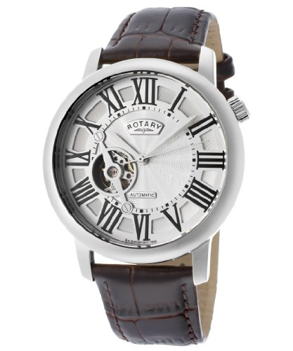 Rotary GLE000018-21 ロータリー メンズ腕時計 Men's Automatic Silver Dial Brown Genuine Leather 10000円以上で送料無料