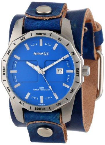 Nemesis ネメシス メンズ腕時計 Men's LVT027L Classic Stainless Steel Blue Sporty Leather Cuff Watch 10000円以上で送料無料