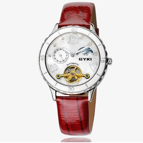 Ufingo ユフィンゴ レディース腕時計 UF-EK053 Automatic Mechanical Tourbillon Rhinestone Moon Fashion Leather Strap Watch For Women/Ladies/Girls-Red 10000円以上で送料無料みじかい