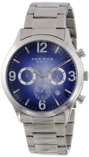 Akribos アクリボス XXIV メンズ腕時計 Men's AK607BU Ultimate Chronograph Blue Dial Stainless Steel Bracelet Watch 10000円以上で送料無料