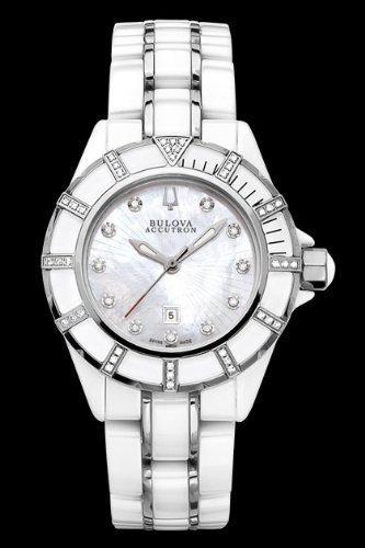 Bulova Accutron ブローバアキュトロン メンズ腕時計 65R137 Accutron Mirador Ladies White Ceramic and Stainless Diamond Watch 10000円以上で送料無料