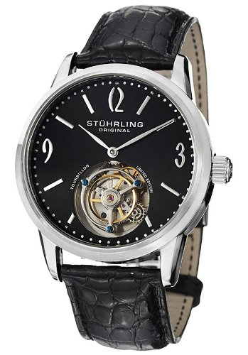 Stuhrling Original ステューリング メンズ腕時計 542_331X1 Mechanical Black Dial Black Crocodile Leather 10000円以上で送料無料