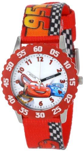 ディズニー 腕時計 キッズ 時計 子供用 カーズ マックィーン Disney Kids' W001035 Cars Stainless Steel Time Teacher Red Bezel Red Nylon Strap Watch