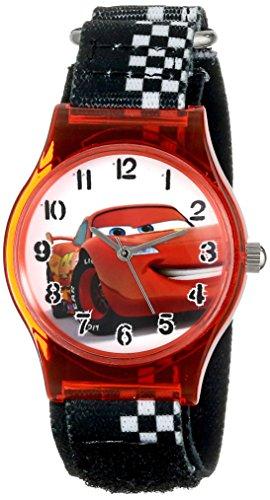ディズニー 腕時計 キッズ 時計 子供用 カーズ マックィーン Disney Kids' W001201 Disney Tween Cars Plastic Watch, Printed Stretch Nylon Strap, W001201 Analog Display Analog Quartz Black Watch