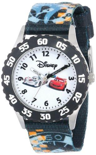 ディズニー 腕時計 キッズ 時計 子供用 カーズ マックィーン シュウ・トドロキ Disney Kids' W000370 Cars Stainless Steel Time Teacher Black Bezel Printed Strap Watch
