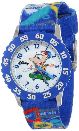 ディズニー 腕時計 キッズ 時計 子供用 フィニアスとファーブ ファーブ Disney Kids' W000373 Phineas Stainless Steel Time Teacher Blue Bezel Printed Strap Watch