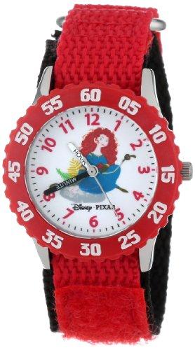 ディズニー 腕時計 キッズ 時計 子供用 メリダとおそろしの森 メリダ Disney Kids' W000259 Merida Stainless Steel Time Teacher Red Bezel Red Velcro Strap Watch