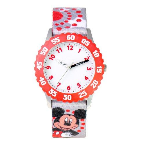 ディズニー 腕時計 キッズ 時計 子供用 ミッキー Disney Kids' W000286 Mickey Mouse Stainless Steel Time Teacher Red Bezel Printed Strap Watch