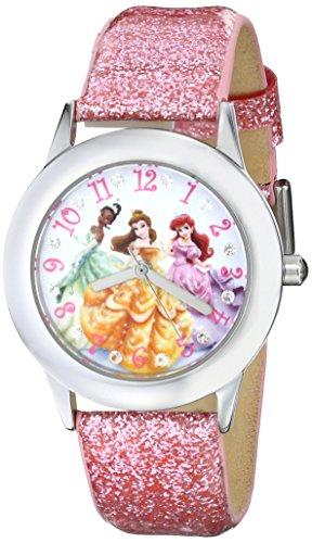 ディズニー プリンセス 腕時計 キッズ 時計 子供用 ディズニープリンセス アリエル ベル ティアナ Disney Kids' W000408 Disney Tween Glitz Princess Stainless Steel Pink Glitter Leather Strap Watch
