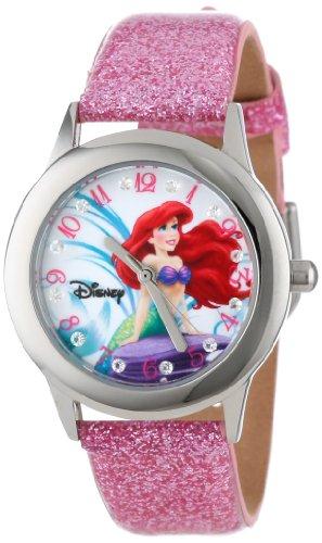 ディズニー 腕時計 キッズ 時計 子供用 リトルマーメイド アリエル Disney Kids' W000955 Tween Ariel Glitz Stainless Steel Light Pink Glitter Leather Strap Watch