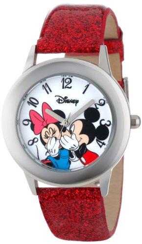 ディズニー 腕時計 キッズ 時計 子供用 ミッキー ミニーDisney Kids' W000853 Tween Mickey and Minnie Mouse Stainless Steel Watch with Red Glitter Band