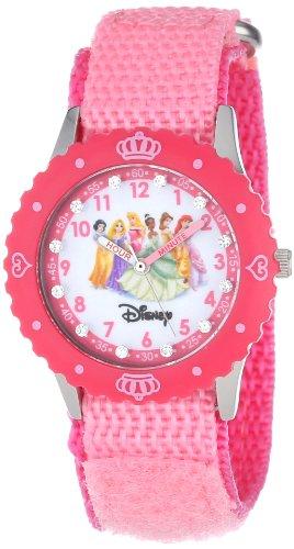 ディズニー プリンセス 腕時計 キッズ 時計 子供用 ディズニープリンセス オーロラ姫 シンデレラ ベル アリエル 白雪姫 ラプンツェル Disney Kids' W000385 Princess Glitz Stainless Steel Time Teacher Pink Bezel Pink Velcro Strap Watch