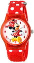 �ǥ����ˡ� �ӻ��� ���å� ���� �Ҷ��� �ߥˡ� Disney Kids' W001250 Disney Tween Minnie Mouse Plastic Watch, Plastic Printed Strap,W001250 Analog Display Analog Quartz Red Watch