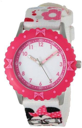 ディズニー 腕時計 キッズ 時計 子供用 ミニー Disney Kids' W000414 Minnie Mouse Stainless Steel Pink Bezel Printed Strap Watch