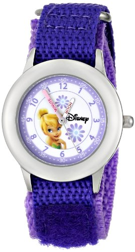 ディズニー 腕時計 キッズ 時計 子供用 ピーターパン ティンカーベル Disney Kids' W000272 Tinker Bell Stainless Steel Time Teacher Purple Velcro Strap Watch
