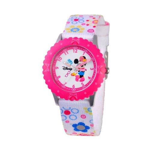 ディズニー 腕時計 キッズ 時計 子供用 ミニー Disney Kids' W000360 Minnie Mouse Stainless Steel Time Teacher Pink Bezel Printed Strap Watch