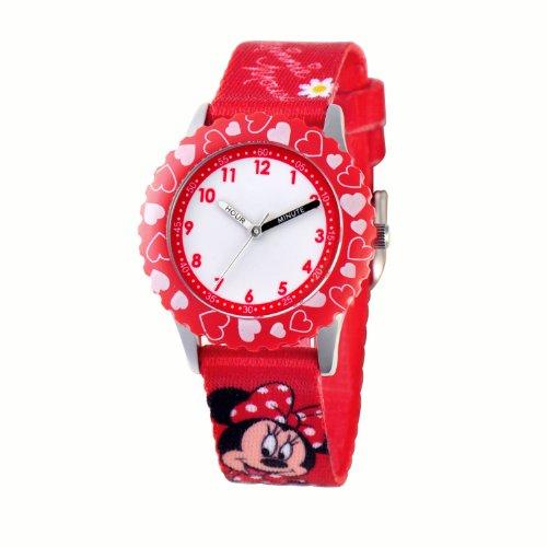 ディズニー 腕時計 キッズ 時計 子供用 ミニー Disney Kids' W000291 Minnie Mouse Stainless Steel Time Teacher Red Bezel Printed Strap Watch