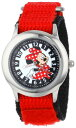 ディズニー 腕時計 キッズ 時計 子供用 ミニー Disney Kids' W001026 Minnie Stainless Steel Time Teacher Red Nylon Strap Watch