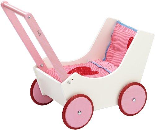 HABA ハバ社 木製 おもちゃ 知育玩具 ドールバギー ベビーカー Doll Pram, White with Hearts