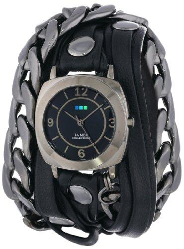 ラメールコレクション 時計 レディース 腕時計 La Mer Collections Women's LMSCW2001 Corsica Black Layer Strap Gunmetal Malibu Chain Odyssey Case Black Dial Watch ラメール コレクション レディース 腕時計 La Mer Collections Watch ラメールコレクションズ