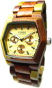 テンス 時計 メンズ 腕時計 木製 Tense Multicolored Inlaid Wood Watch - Mens Triple Dial Hexagon G8303I (Light Face)