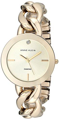 アンクライン ブレスレット アクセサリー Anne Klein Women's AK/1834CHGB Diamond-Accented Gold-Tone Chain Bracelet Watch アンクライン ブレスレット アクセサリー Anne Klein Women's AK/1834CHGB Diamond-Accented Gold-Tone Chain Bracelet Watch