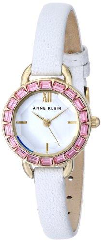 アンクライン 時計 レディース 腕時計 Anne Klein Women's AK/1676PKWT Pink Swarovski Crystal Accented Thin White Leather Strap Watch アンクライン 時計 レディース 腕時計 Anne Klein Women's AK/1676PKWT Pink Swarovski Crystal Accented Thin White Leather Strap Watch