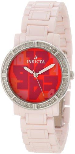 インヴィクタ インビクタ 腕時計 レディース 時計 Invicta Women's 10276 Ceramic Diamond Accented Red Dial Pink Watch インヴィクタ インビクタ 腕時計 レディース 時計 Invicta Women's 10276 Ceramic Diamond Accented Red Dial Pink Watch