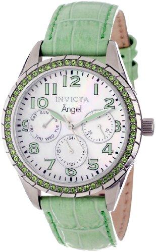 """インヴィクタ インビクタ 腕時計 レディース 時計 Invicta Women's 12605 """"Angel"""" Stainless Steel, Lime Green Leather, and Crystal Watch インヴィクタ インビクタ 腕時計 レディース 時計 Invicta Women's 12605 """"Angel"""" Stainless Steel, Lime Green Leather, and Crystal Watch"""