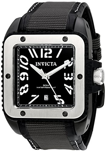 インビクタ 時計 インヴィクタ メンズ 腕時計 Invicta Men's 1457 Cuadro Black Dial Grey Techno-fiber Over Black Leather Watch インビクタ 時計 インヴィクタ メンズ 腕時計 Invicta Men's 1457 Cuadro Black Dial Grey Techno-fiber Over Black Leather Watch