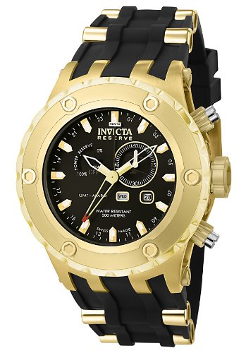 インビクタ 時計 インヴィクタ メンズ 腕時計 Invicta Men's 6213 Reserve Collection GMT 18k Gold-Plated Stainless Steel Black Rubber Watch インビクタ 時計 インヴィクタ メンズ 腕時計 Invicta Men's 6213 Reserve Collection GMT 18k Gold-Plated Stainless Steel Black Rubber Watch
