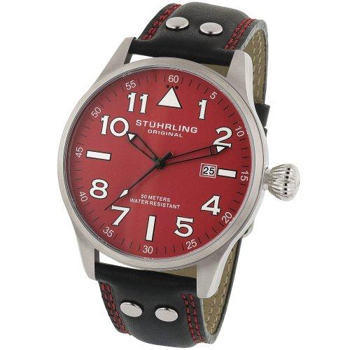 ステューリング オリジナル 腕時計 メンズ 時計 Stuhrling Original Men's 141.33154 The Eagle Swiss Quartz Date Red Dial Watch ステューリング オリジナル 腕時計 メンズ 時計 Stuhrling Original Men's 141.33154 The Eagle Swiss Quartz Date Red Dial Watch