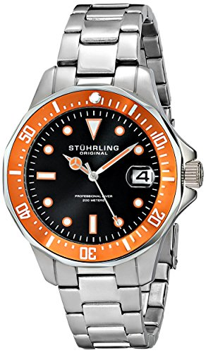ステューリング オリジナル 腕時計 メンズ 時計 Stuhrling Original Men's 664.04 Aquadiver Quartz Date Orange Bezel Stainless Steel Watch ステューリング オリジナル 腕時計 メンズ 時計 Stuhrling Original Men's 664.04 Aquadiver Quartz Date Orange Bezel Stainless Steel Watch