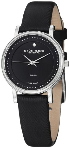 ステューリング オリジナル 腕時計 レディース 時計 Stuhrling Original Women's 734L.02 Classic Ascot Castorra Elite Swiss Quartz Ultra Slim Genuine Diamond Black Leather Strap Watch ステューリング オリジナル 腕時計 レディース 時計 Stuhrling Original Women's 734L.02 Watch海外無料配送