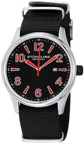 ステューリング オリジナル 腕時計 メンズ 時計 Stuhrling Original Men's 406A.331OB75 Leisure Eagle Nighthawk Swiss Quartz Date Black Canvas Strap Watch ステューリング オリジナル 腕時計 メンズ 時計 Stuhrling Original Men's 406A.331OB75 Watch