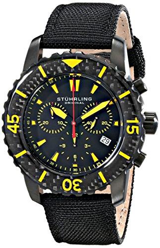 ステューリング オリジナル 腕時計 メンズ 時計 Stuhrling Original Men's 3267.02 Aquadiver Swiss Quartz Chronograph Date Black Watch ステューリング オリジナル 腕時計 メンズ 時計 Stuhrling Original Men's 3267.02 Aquadiver Swiss Quartz Chronograph Date Black Watch
